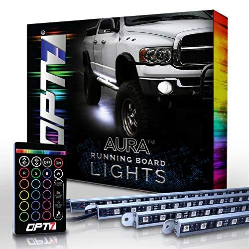 OPT7 Aura LED Running Board Lights - Nerf Light Side Bar Step Kit for Trucks, SUVs, RV, Big Rigs - 4 Guard Light Bars, 16 Color Options, Flash Settings, Sound Sync Mode & 2 Remotes - 1 YR Warranty