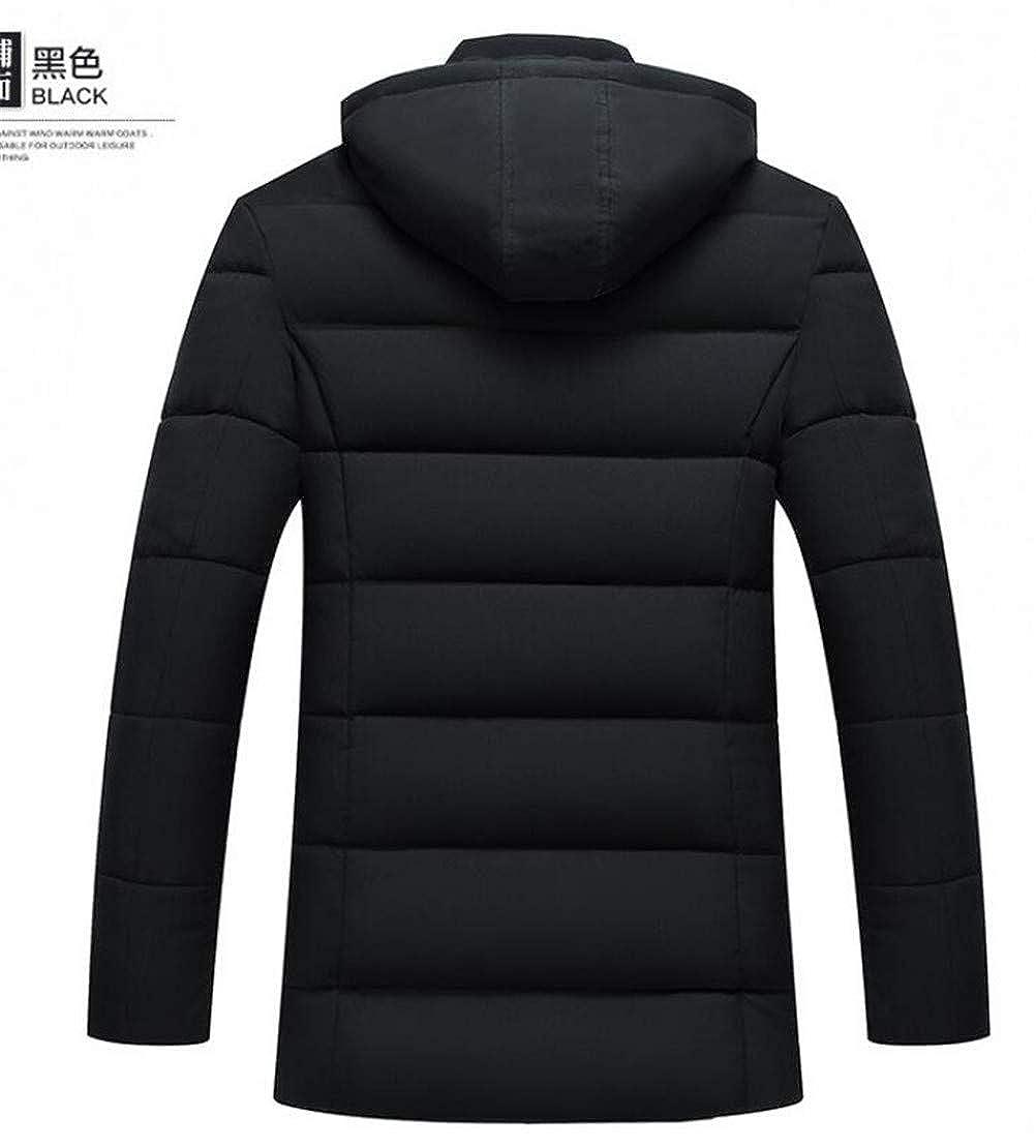Spirio Mens Quilted Fleece Linen Hooded Stand Collar Winter Down Jacket Coat