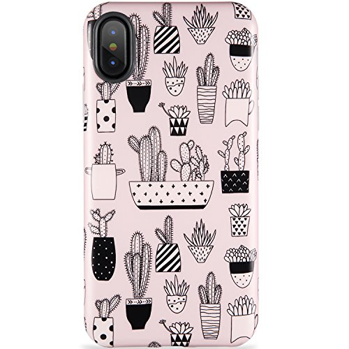ZADORN iPhone X Case,iPhone 10 Case,Slim Fit Cute Best Protective Phone Case for Women Girls Floral Clear Bumper Soft Silicone TPU Thin Cover for iPhone X 10 (Cactus Black White-71)
