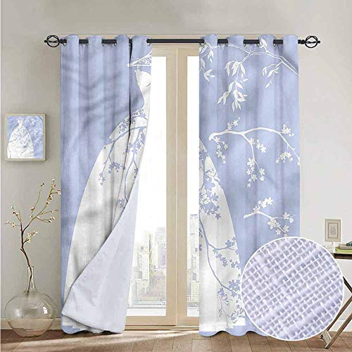 NUOMANAN Modern Farmhouse Country Curtains Bridal Shower,Floral Bride Dress,Design Drapes 2 Panels Bedroom Kitchen Curtains 52