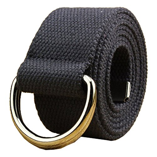 Canvas Web Belt Double D-ring Buckle 1 1/2 Inch Extra Long Metal Tip Solid Color ()