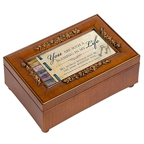 Cottage Garden You are a Blessing in My Life Woodgrain Embossed Jewelry Music Box Plays Amazing Grace