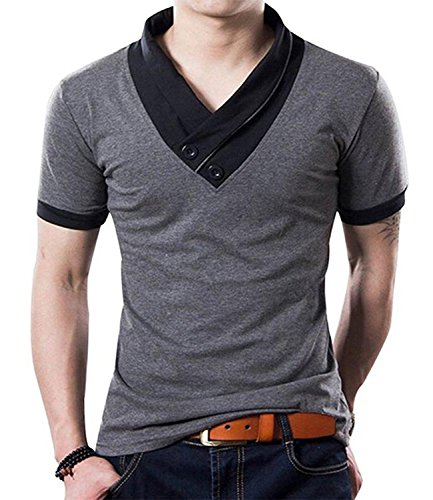 YTD 100% Cotton Mens Casual V-Neck Button Slim Muscle Tops Tee Short Sleeve T- Shirts (US Large, Gray)