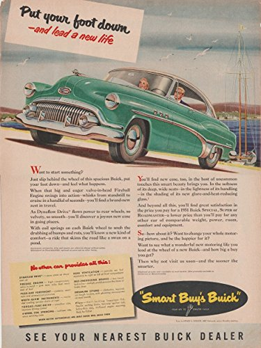 "1951 BUICK SPECIAL RIVIERA HARDTOP COUPE ""Put your Foot Down..."" LARGE VINTAGE COLOR AD - USA - GREAT ORIGINAL !!"