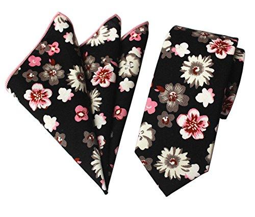 Secdtie Men's Skinny Tie Fashion Grey Paisley Floral Printed Linen Necktie MTC04