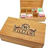 Custom Personalized Wood Tea Box Caddy Organizer