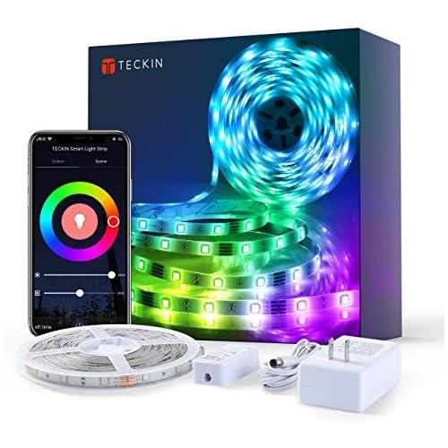 chollos oferta descuentos barato TECKIN Tiras LED RGB Wifi 5M 5050 SMD Tira de Luces Colores Inteligente funciona con Alexa Móvil Google Home Multi Modos para Navidad TV Dormitorio Fiesta y Decoración