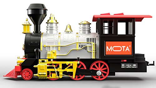 MOTA Classic Holiday Christmas Train Set with Real Smoke - Authentic Lights, and Sounds - A Full Set with Locomotive Engine, Cargo Cars, Tracks and Christmas Spirit (Train Xmas)