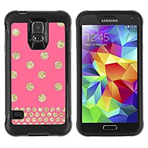 BullDog Case@ Polka Dot Pink Gold Pattern Glitter Rugged Hybrid Armor Slim Protection Case Cover Shell For S5 Case , G9006 Cover Case ,Leather for S5 ,S5 Cover Leather Case ,G9006 Leather Case