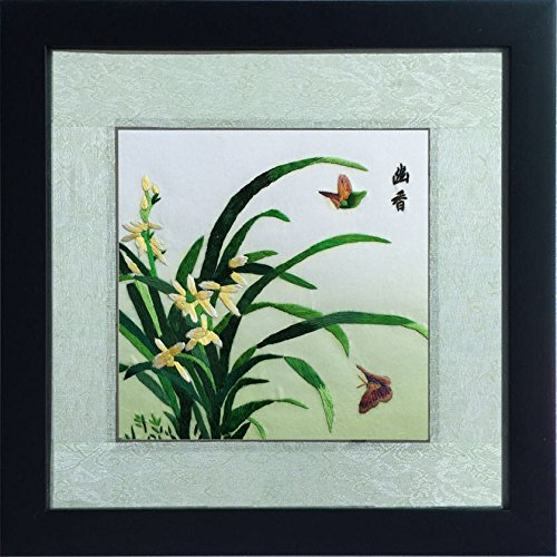 Silk Art Butterflies Dancing in the Orchid Painting, Fine Silk Thread