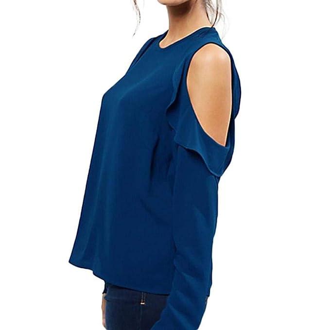 Blusa de Mujer,BaZhaHei Ropa,Blusa sólida Gasa sin Tirantes de Manga Larga Las