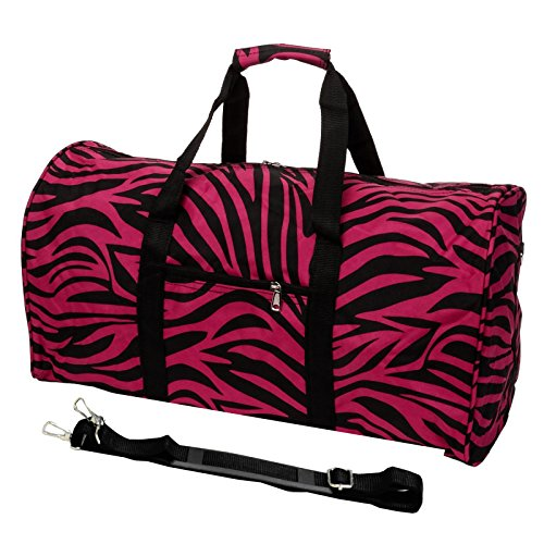 - World Traveler 22 Inch Duffle Bag, Fuchsia Black Zebra, One Size