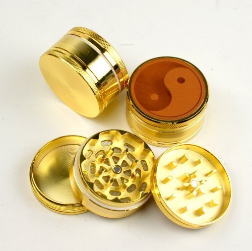 Price comparison product image Yin & Yang #3 Gold Brass Color, 3pc ,PU leather on top,tobacco grinder with CNC sharp teeths,