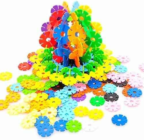 RIKKO Rainbow Snow Flakes 300 Discs   STEM Educational Brain Building Toy   Interlocking Plastic Construction Connect Set   Promotes Fine Motor Skills Development - Therapy Tools