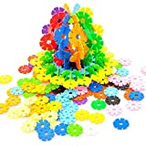 RIKKO Rainbow Snow Flakes 300 Discs | STEM Educational Brain Building Toy | Interlocking Plastic Construction Connect Set | Promotes Fine Motor Skills Development - Therapy Tools
