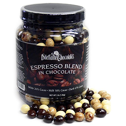 Espresso Dilettante Beans (Chocolate Espresso Bean Blend - White, Milk & Dark Chocolate - 3lb Jar - by Dilettante)