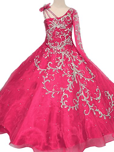 Y&C Little Girls' Bowknot One-Shoulder Long Sleeves Beaded Sequins Embroidery Pageant Ball Gown Evening Dress 14 US Hot Pink
