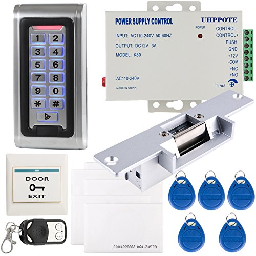 UHPPOTE Full Complete Stand-Alone Door Access Control System Kit with Electric Strike Lock Power Supply Remote Control ()