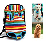 Lychee Canvas fabric Pet Dog Cat Backpack Carrier Puppy Pouch Cat Front Bag Back Pack With Legs Out (L, Rainbow)