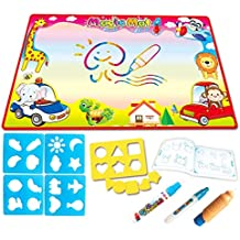"""Aqua Magic Drawing Mat Large Kids Painting Writing Coloring Water Doodle Mat With 14 Painting Accessories Educational Toddler Drawing Pad for 1 2 3 4 5 6 7 8 9 10 11 12Girls Boys Gift(34.5"""" X 22.5"""")"""