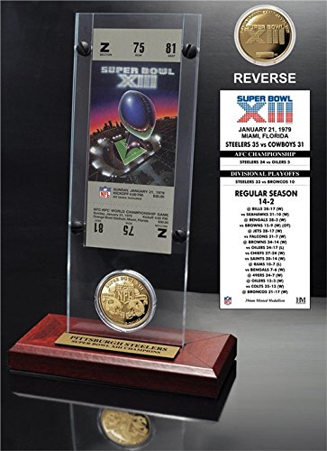 Super Bowl Collection Collectible Coin - NFL Pittsburgh Steelers Super Bowl 13 Ticket & Game Coin Collection, 12