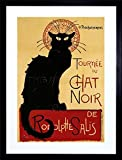 BLACK CAT CHAT NOIR RODOLPHE SALIS PARIS Framed Wall Art Wall Picture Frames Wall Decor Pictures for Living Room Bedroom Office 30x40 cm