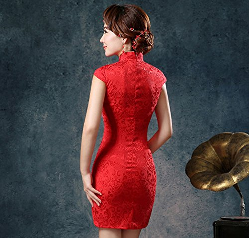 Coton avoir Rouge Luck en Style Chinois Col Robe Courte Montant Femme Motif PS0qPvx7
