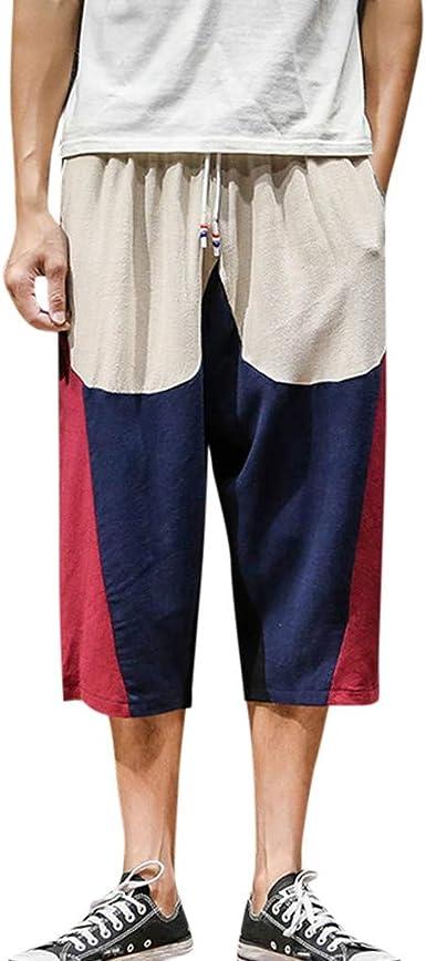 CAOQAO Pantalones Cortos Hombre Moda Hombre Patchwork Casual Cordón Algodón Lino 3/4 Pantalones Pantalones: Amazon.es: Ropa y accesorios