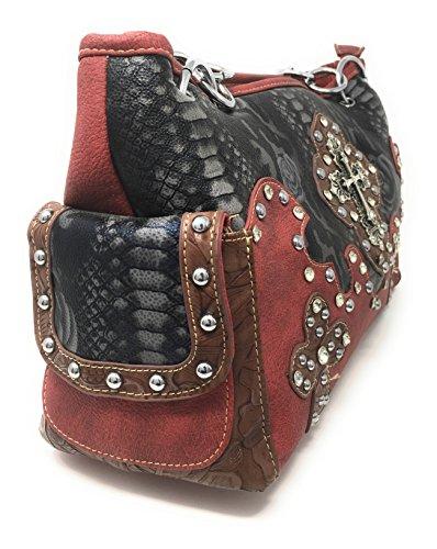 en à en daim femme Blue Western multiples en cuir main Sac et pour couleurs strass Cross Red Premium wSqO0a0xdp