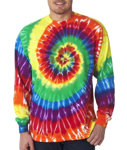 Gildan Tie Dye 70LS Men's Long-Sleeved Rainbow Swirl T shirt 3XL Rainbow Swirl (Tie T-shirt Dye Rainbow Swirl)