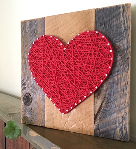 Red Heart Wall (Large Red string art wooden heart sign for Mother's Day, Weddings, Anniversaries ,Birthdays, Valentine's Day, Christmas, new babies, housewarming and just because gifts.)