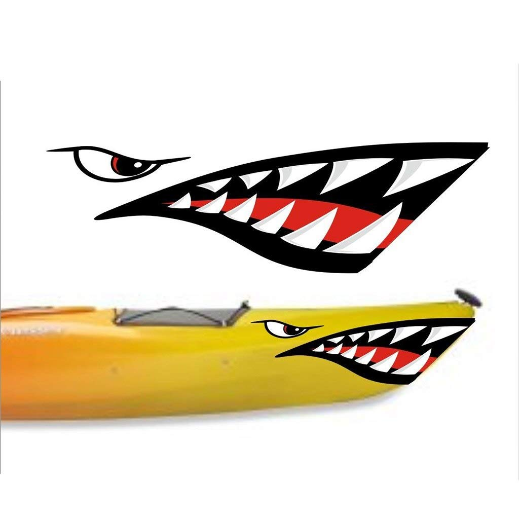Gold Happy Waterproof 2 Pieces Shark Teeth Mouth Decal Stickers for Kayak Canoe Dinghy Boat Durable Stickers Acce Home Car Window Decor by Gold Happy