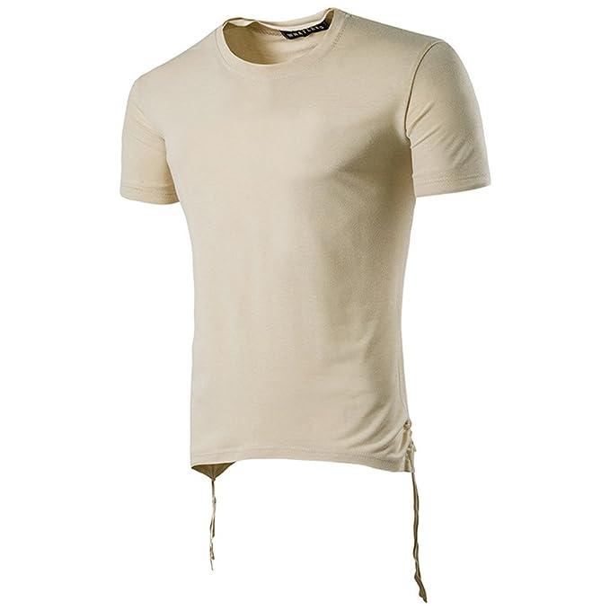 LANSKIRT_Camisas Hombre Camisetas Hombre Blusas de con Cuello Redondo y Vendaje BáSica Camiseta de Color SóLido Sudaderas Manga Corta Tops Shirt Polos de ...