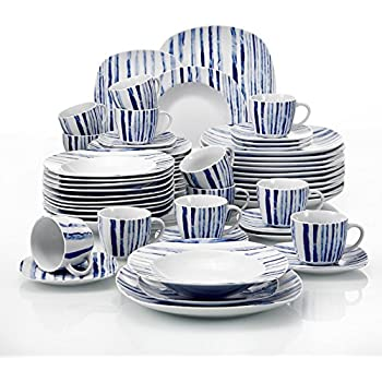 VEWEET 60-Piece Porcelain Dinnerware Set Ivory White Plate Sets Kitchen Plates Service for 12 - Boheme Blue (JOYCE Series)  sc 1 st  Amazon.com & Amazon.com | Gourmet Basics Madison 48 Piece Dinnerware Set Service ...
