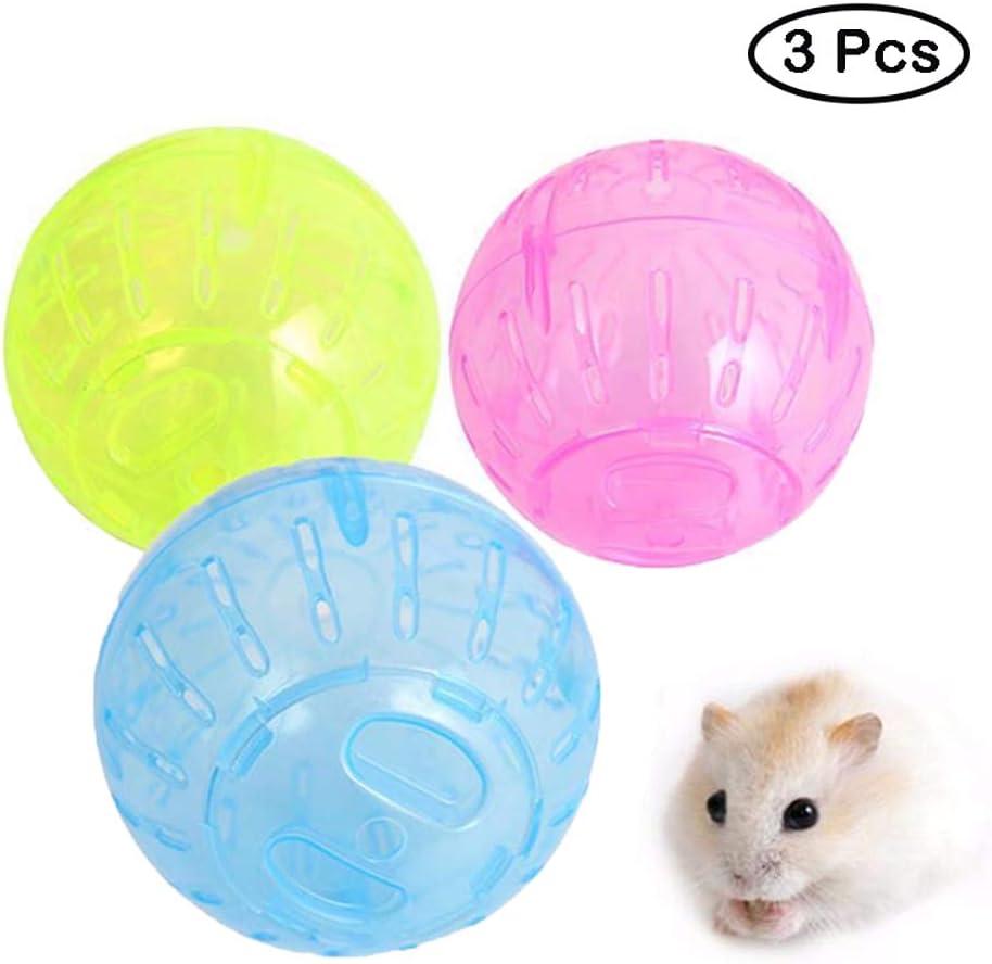 Eon Systems - Juguete Interactivo para hámster con Bola de hámster, 10 cm, para Hacer Ejercicio, para Mascotas, 3 Unidades (Color al Azar)