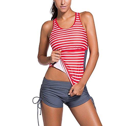 Anzona Women's Striped Racerback Tankini Set With Boyshort Two Piece Bikini Swimsuit Red XXL by Anzona