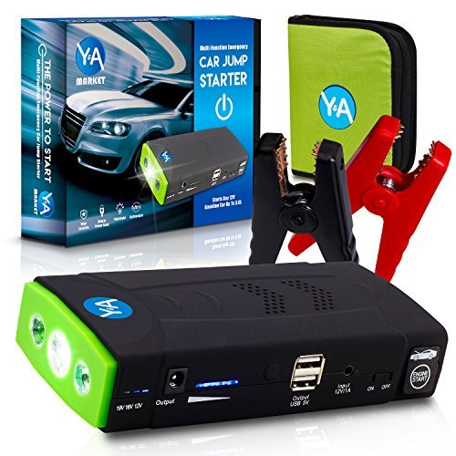 Y&A Market Multi-Function Compact Emergency Car Jump Starter: Power Bank, LED Flashlight, USB Cell Phone Charger, and Battery Adapter for Electronics with Case