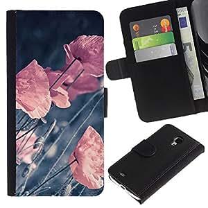 YiPhone /// Tirón de la caja Cartera de cuero con ranuras para tarjetas - RETRO flores en colores pastel VIGNETTE - Samsung Galaxy S4 Mini i9190