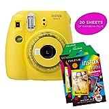 Fujifilm Instax Mini 9 Instant Camera Includes 2 Rainbow Film Packs (20 Photo Sheets Total) | Selfie Mirror, Auto Lens & Light Exposure Setting (Yellow)