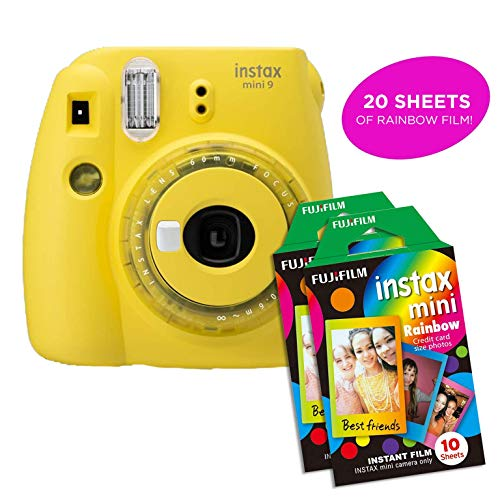 Fujifilm Instax Mini 9 Instant Camera Includes 2 Rainbow Film Packs (20 Photo Sheets Total) | Selfie Mirror, Auto Lens & Light Exposure Setting (Yellow)