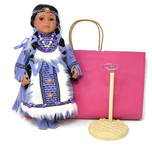 Lulu Native American Collectible Porcelain With Doll Stand and Gift (Native American Porcelain)