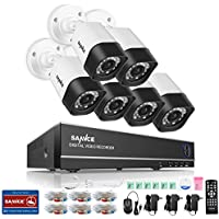 SANNCE 8CH Security Camera System 1080N DVR Reorder and (6) HD 1280TVL Outdoor CCTV Cameras with IP66 Weatherproof and Motion Detection, NO HDD