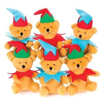 Baker Ross Ositos de Peluche Vestidos de Duendes navideños para Que los niños Puedan Jugar y Pasar una Navidad (Pack de 3).: Amazon.es: Juguetes y juegos