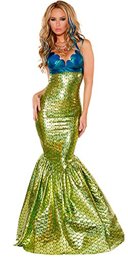 [Sexy Mermaid Costume, Women's Deluxe Halloween Cosplay Party Dress Ball Gown (M-- US 8-10)] (Deluxe Adult Sexy Mermaid Costumes)