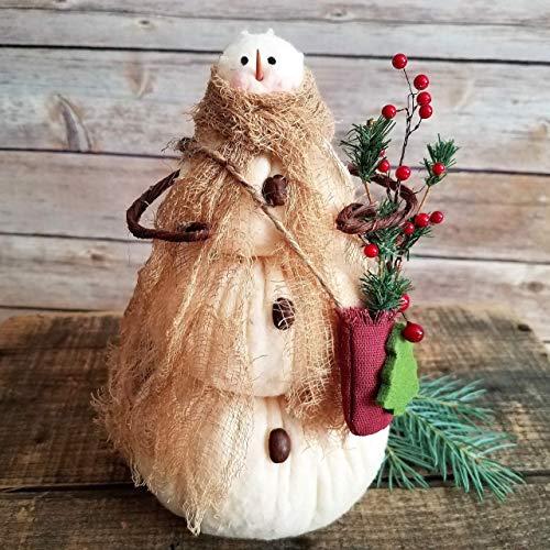 Primitive Farmhouse Snowflake Mom Snowman Home Decor Shelf Sitter Art Doll 7 Inches Tall]()