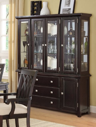 China Cabinet Buffet Hutch With Storage Drawers   Dark Brown