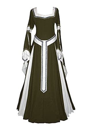 chimikeey Womens Medieval Dress Renaissance Costumes Irish Over Long Dress  Cosplay Retro Gown