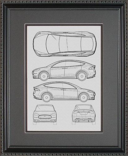 Tesla Model S Blueprint, 11x14