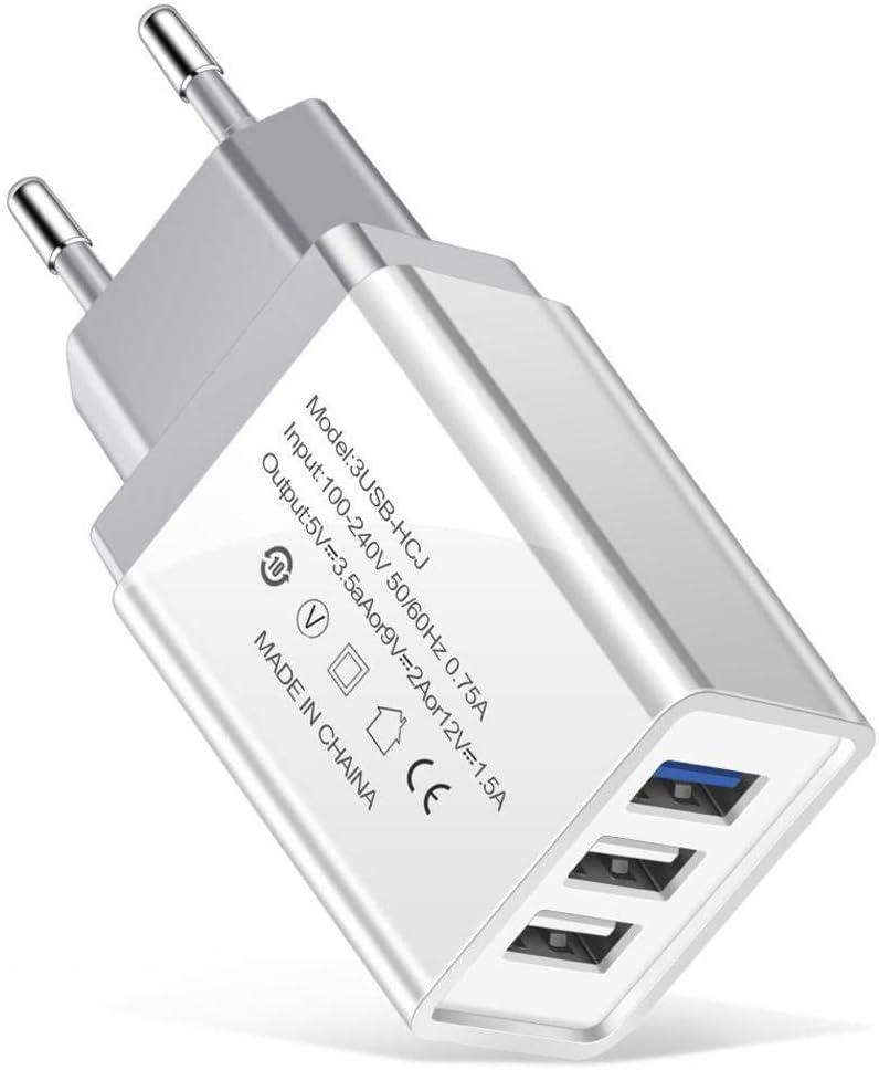 UU Olodui1 Ligero port/átil EE UE Enchufe 3 Puertos USB Cargador de tel/éfono m/óvil Bases de Carga