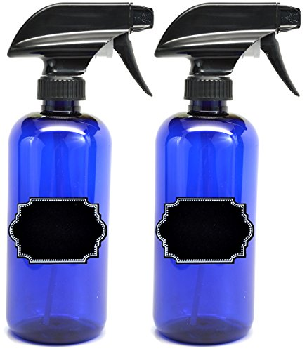 2 Pack Firefly Craft Cobalt Blue PLASTIC Spray Bottles with Chalkboard Labels, 16 ounces each